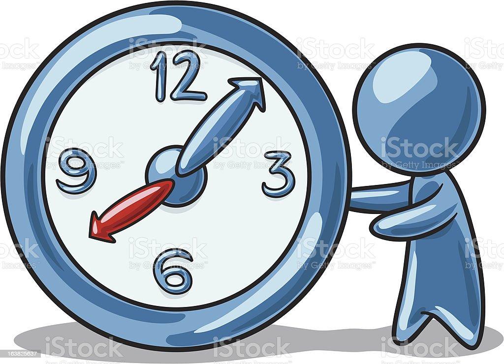 Character holding clock royalty-free stock vector art