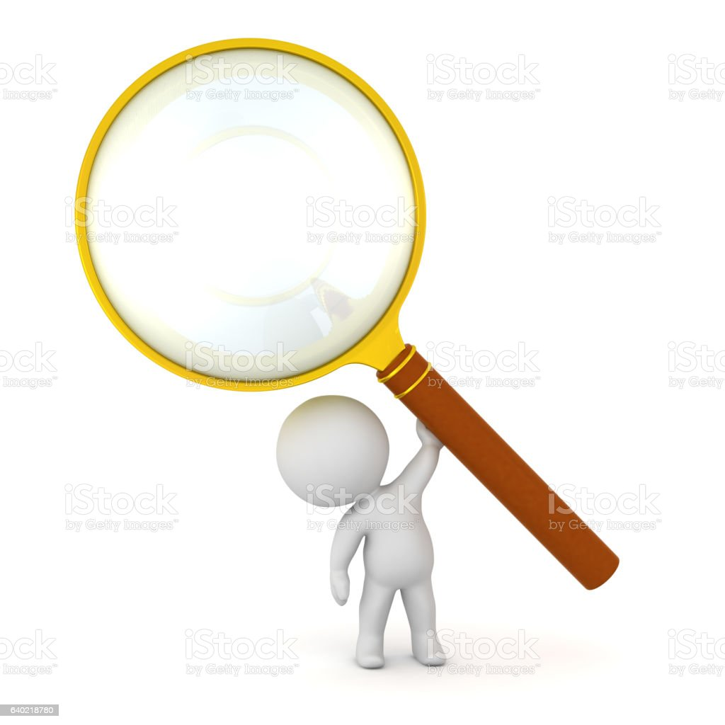 3d character holding up large magnifying glass royaltyfree stock vector art