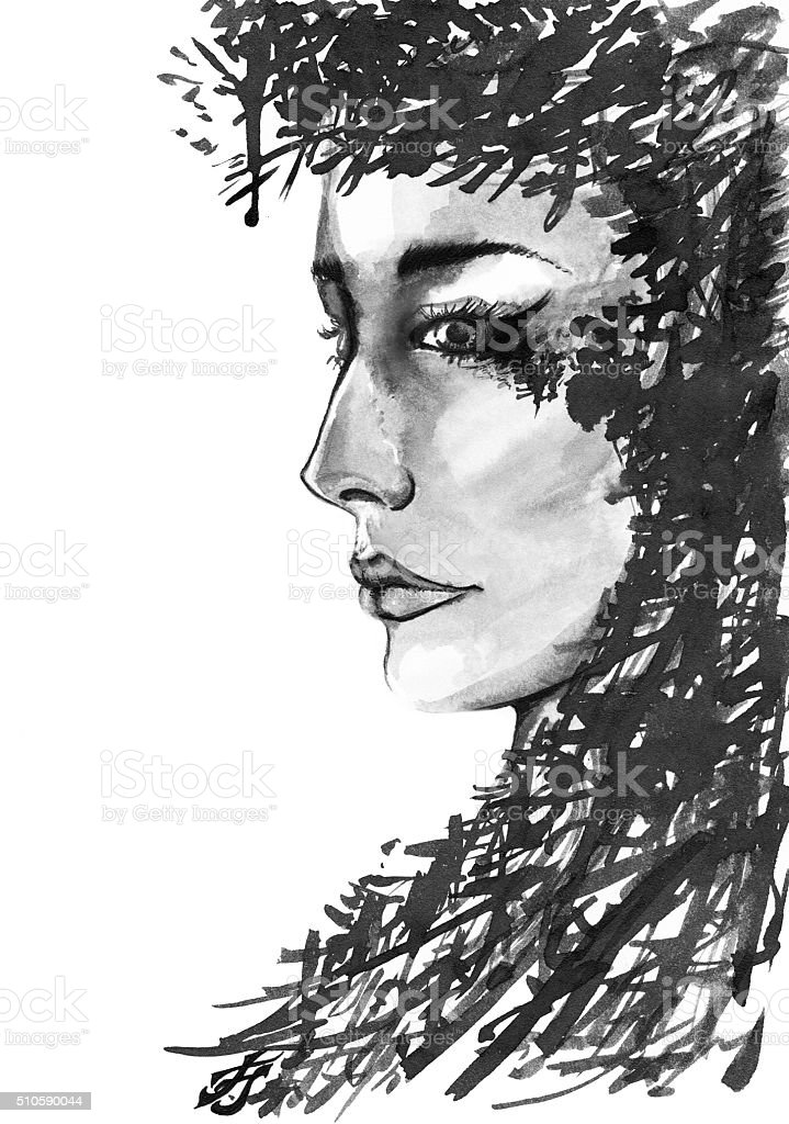 Character monochrome women with abstract black ink hair vector art illustration