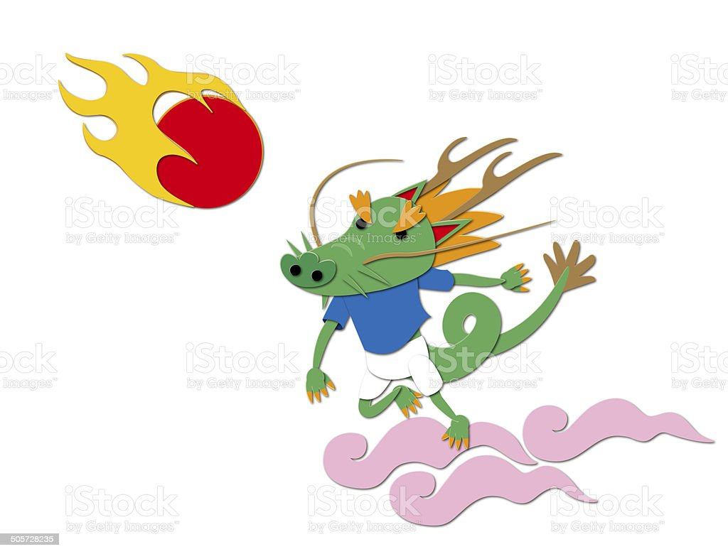 Character of the dragon to soccer royalty-free stock vector art