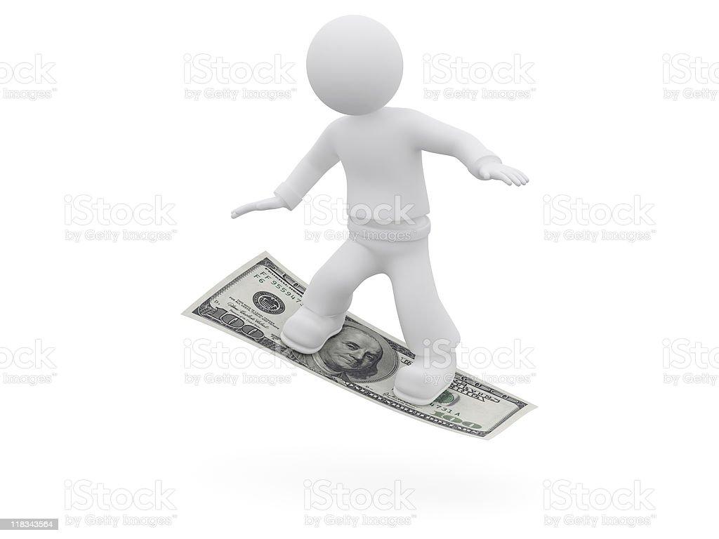 3D character riding on $100 bill. vector art illustration