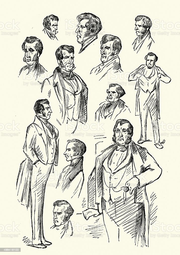 Character sketches for Charles Dickens vector art illustration