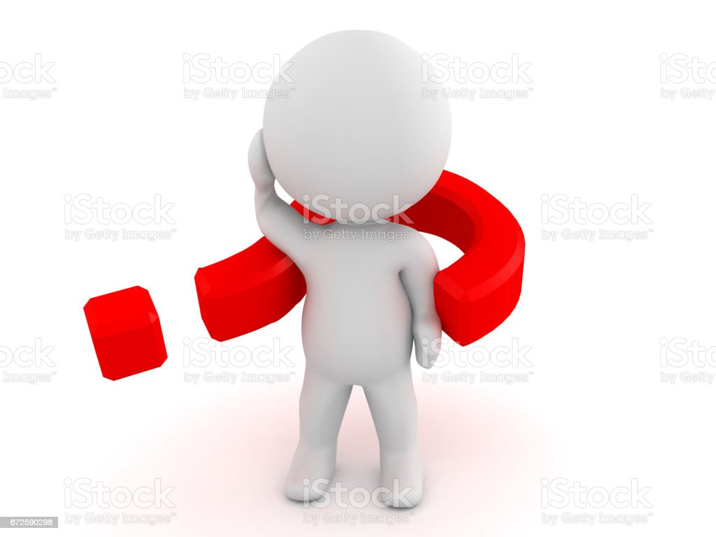 3D Character with a question mark wrapped around him stock photo