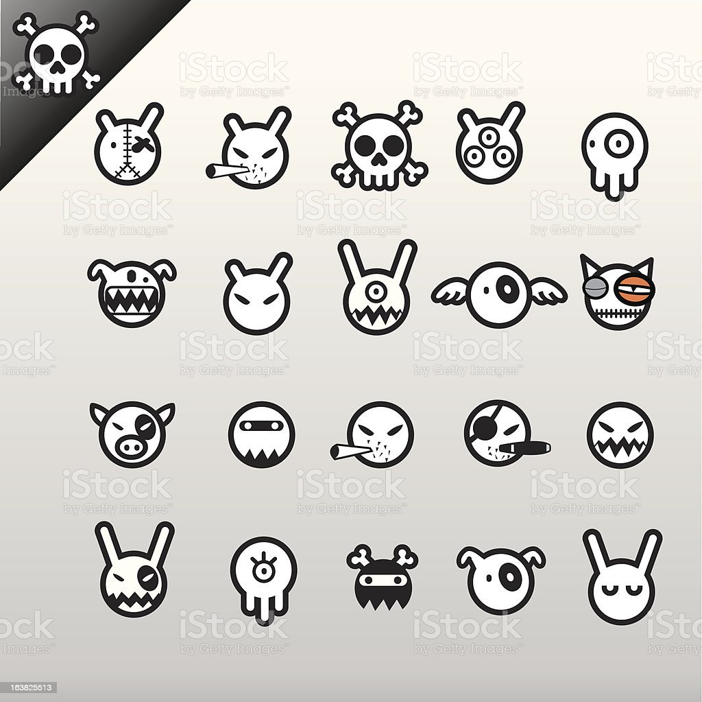 Characters icon set vector art illustration