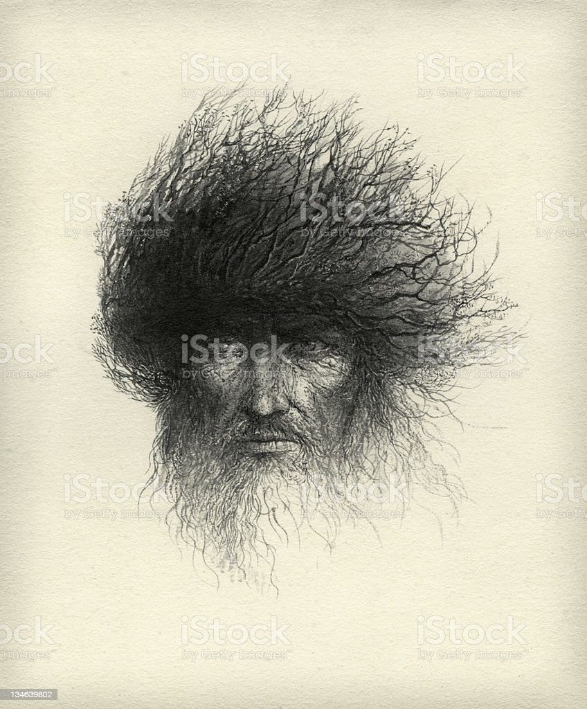 Charcoal black and white sketch of a man with tree hair vector art illustration