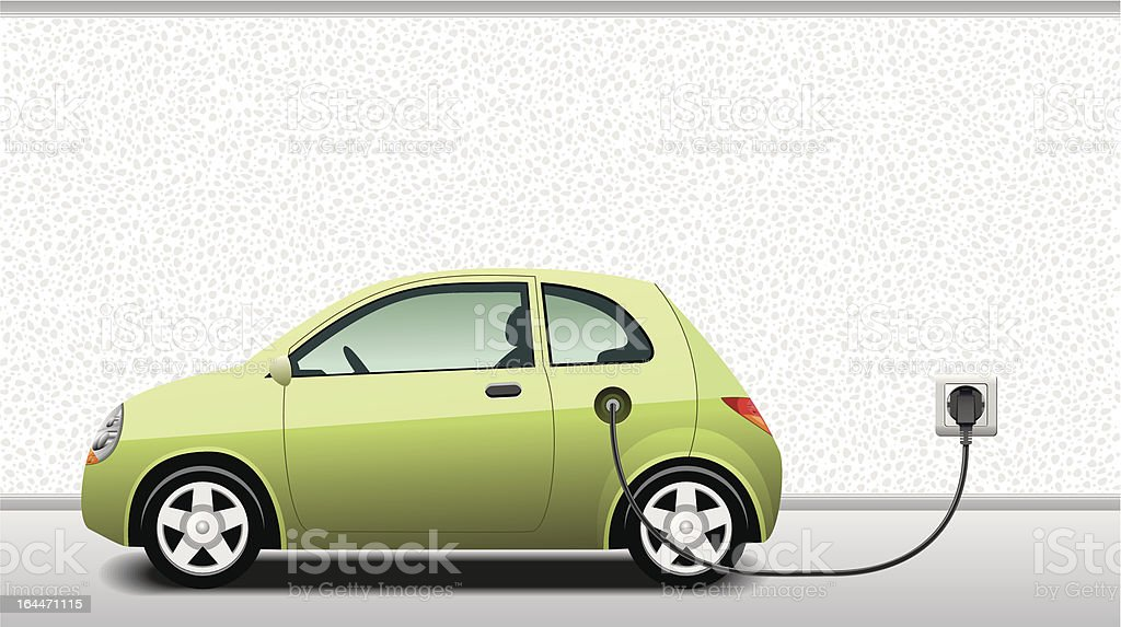 Charging Hybrid Car vector art illustration