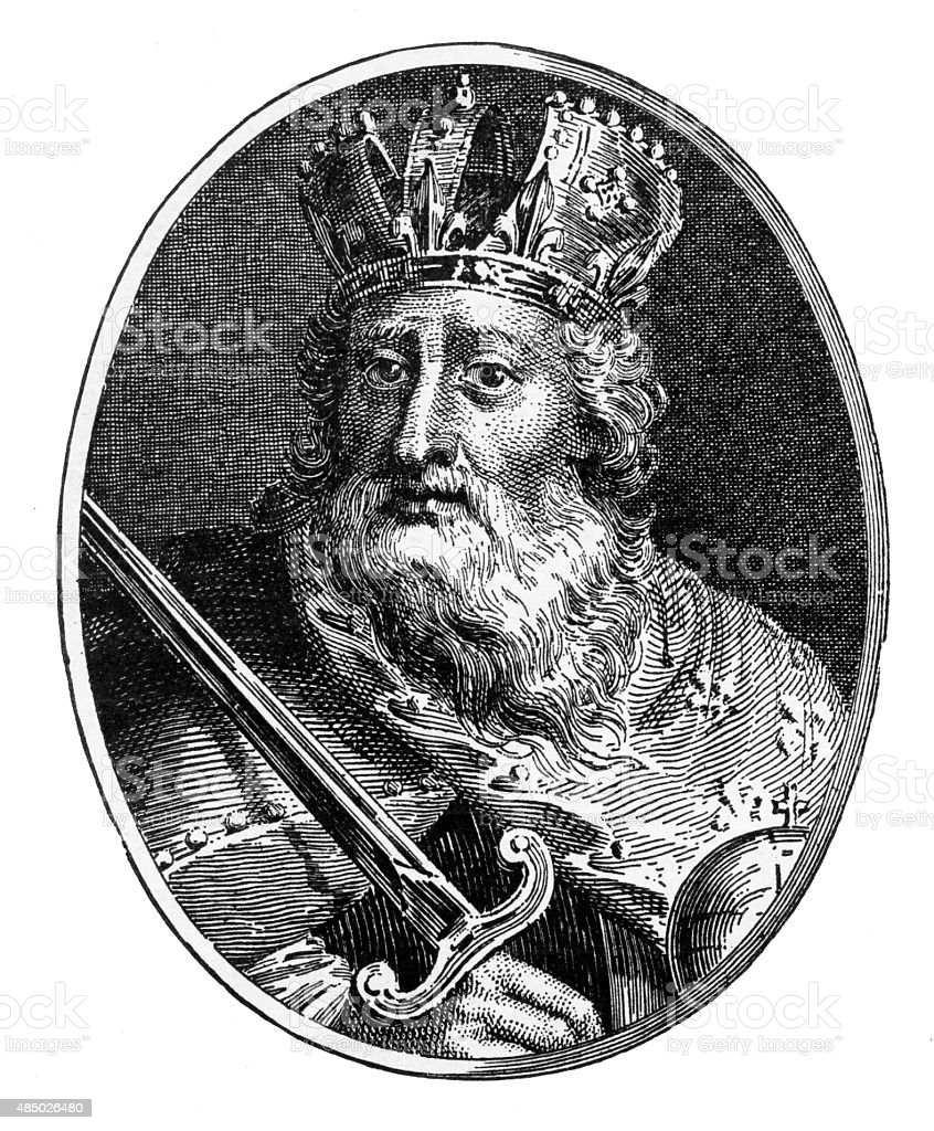 Charlemagne, 742-814 A.D. Engraving vector art illustration