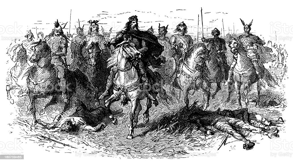 Charlemagne At The Head Of His Army vector art illustration
