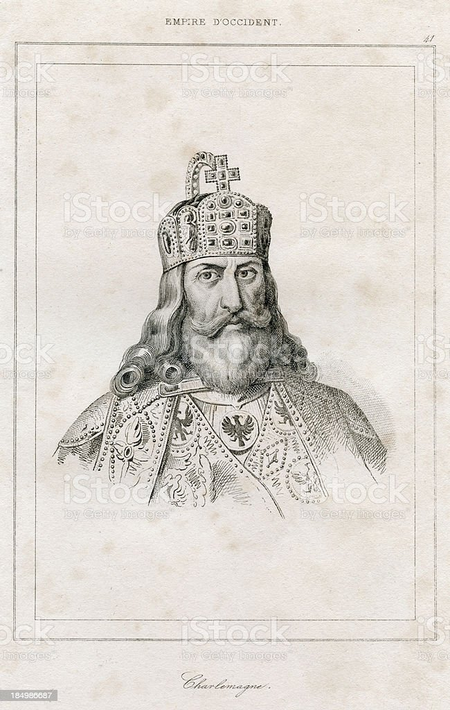 Charlemagne, Charles the Great -  Engraving, 1838 vector art illustration