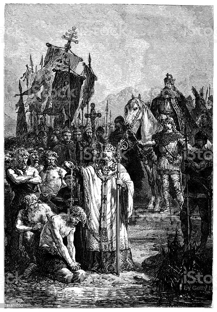 Charlemagne Inflicting Baptism Upon The Saxons vector art illustration