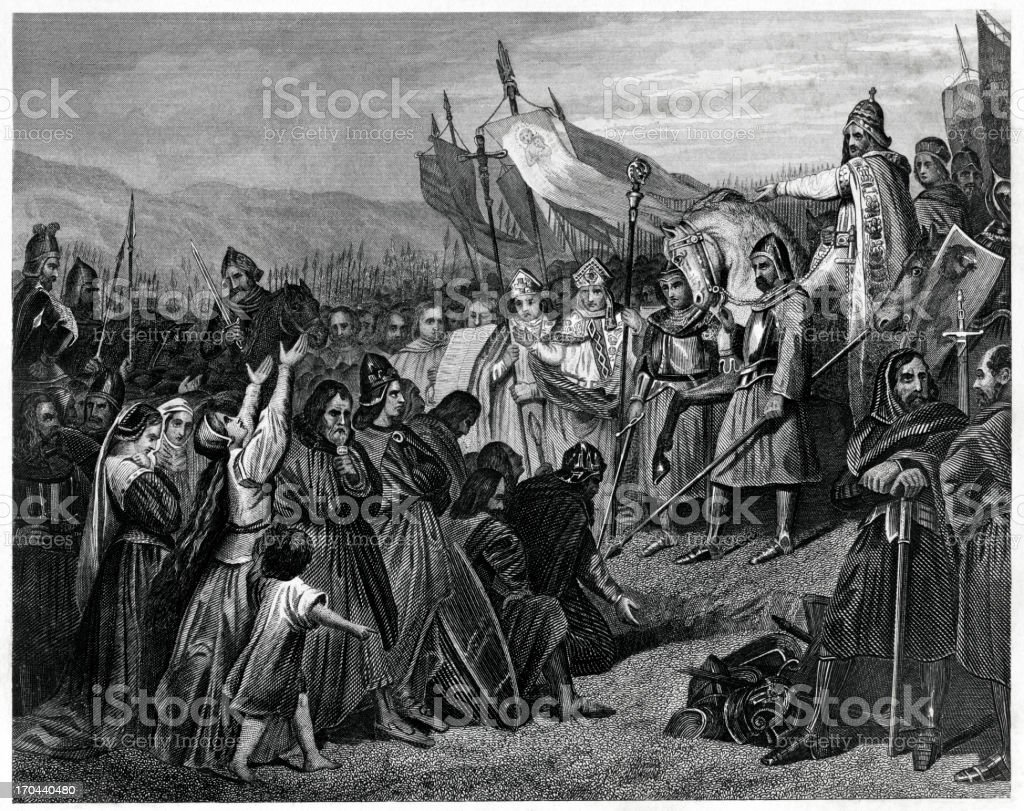 Charlemagne Receiving The Submission Of Witikind royalty-free stock vector art