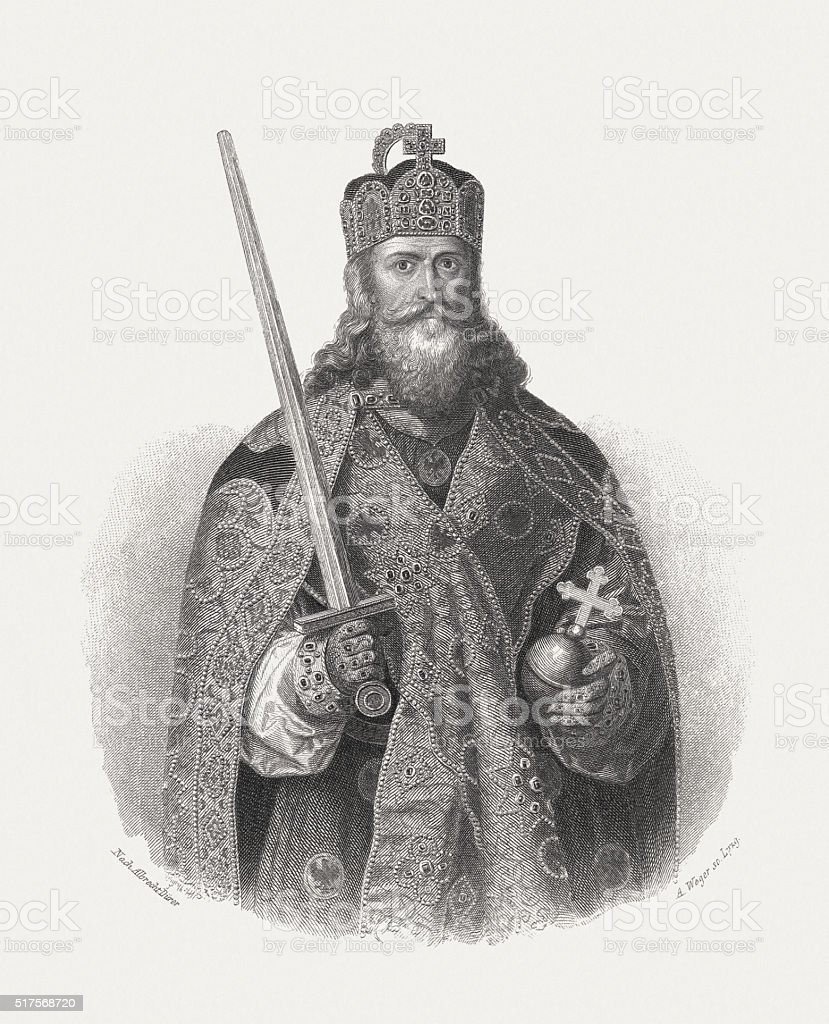 Charlemagne - the first Holy Roman Emperor, published in 1868 vector art illustration
