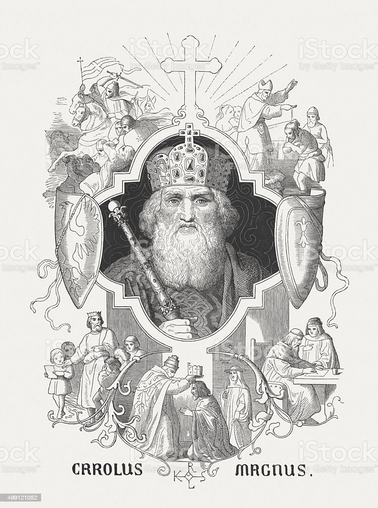 Charlemagne - the first Holy Roman Emperor, published in 1876 vector art illustration