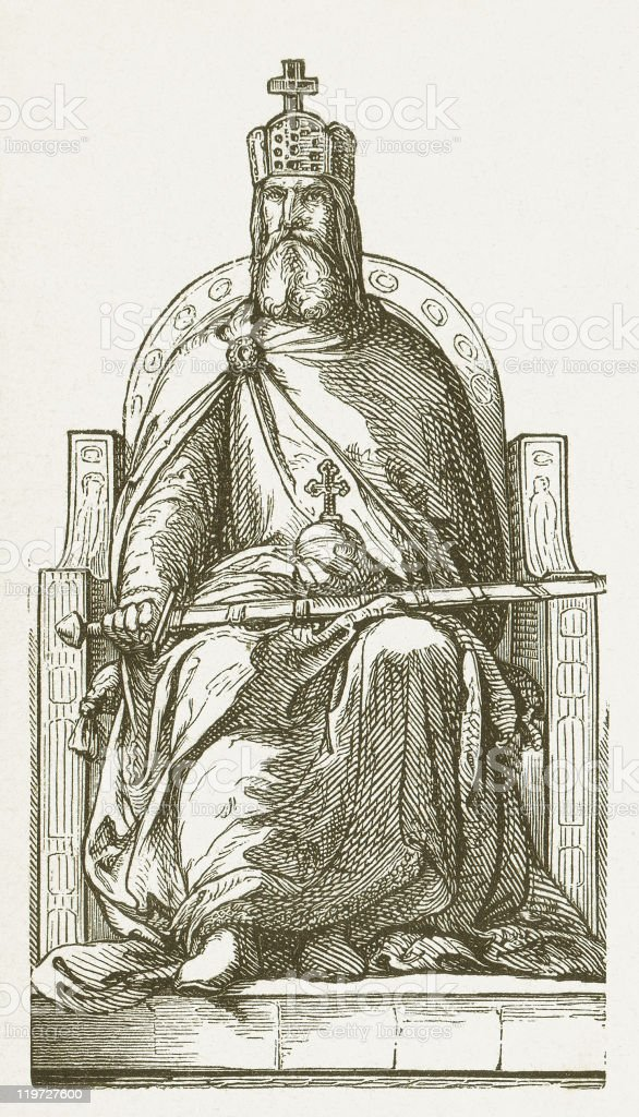 Charlemagne (possibly 742-814), wood engraving, published in 1877 vector art illustration