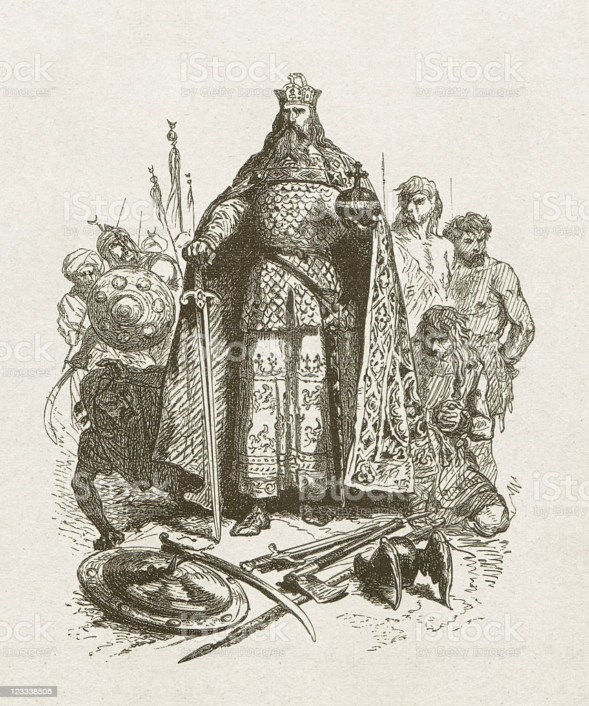 Charlemagne (747/748-814), wood engraving, published in 1881 vector art illustration