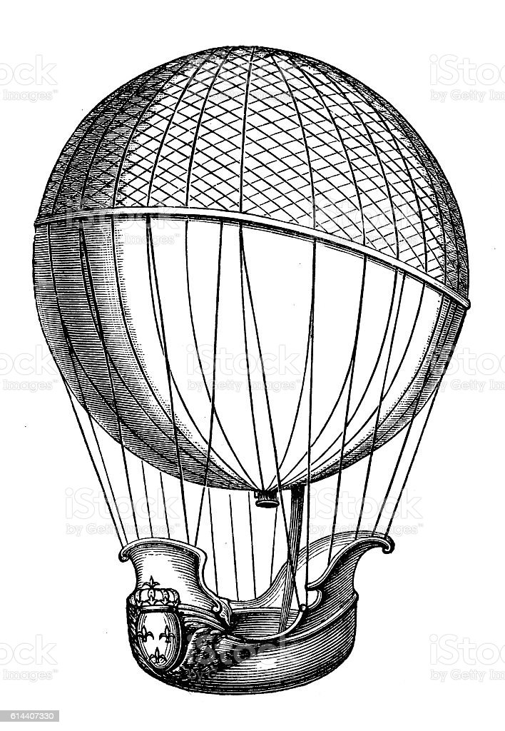 Charles and Robert brothers balloon vector art illustration
