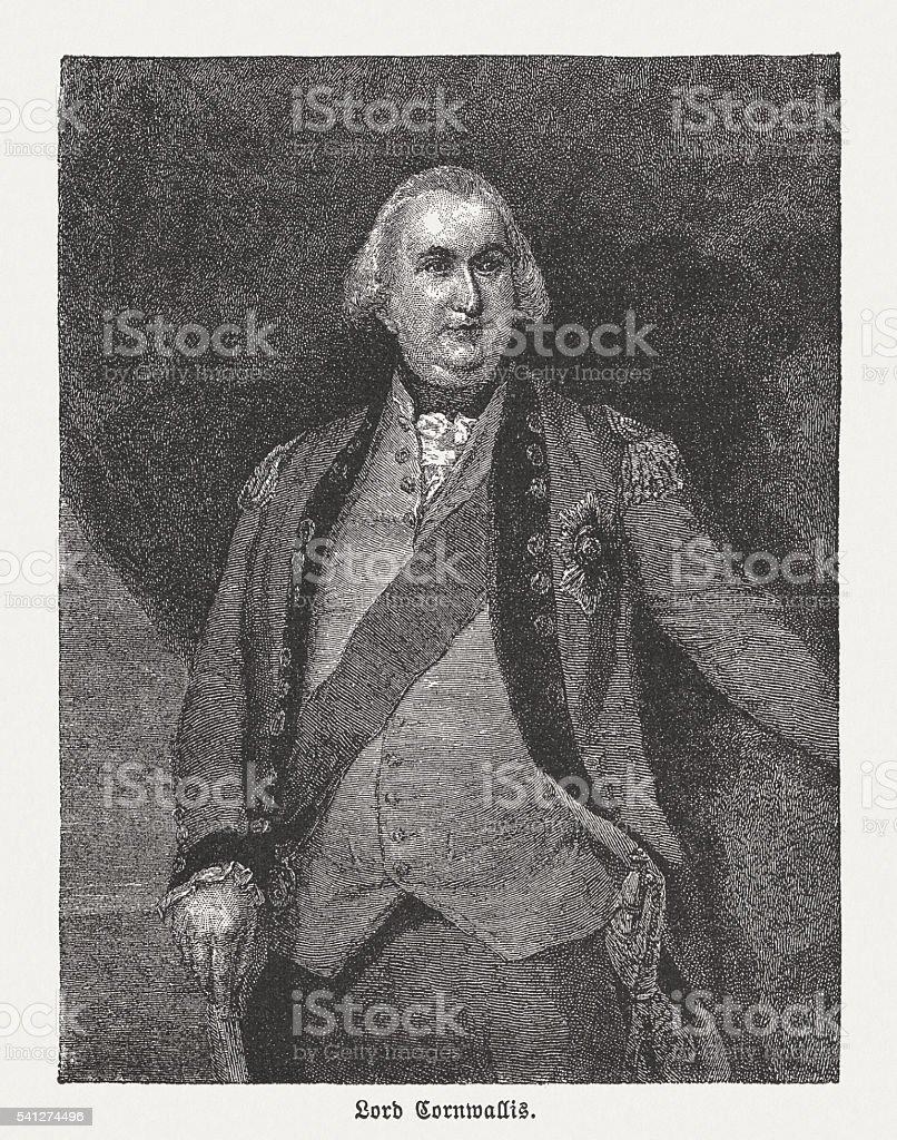Charles Cornwallis (1738-1805), British general, wood engraving, published in 1884 vector art illustration