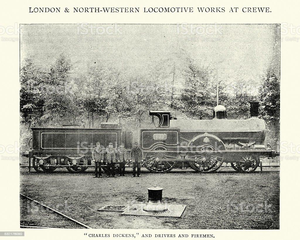LNWR Charles Dickens 2-4-0 locomotive vector art illustration