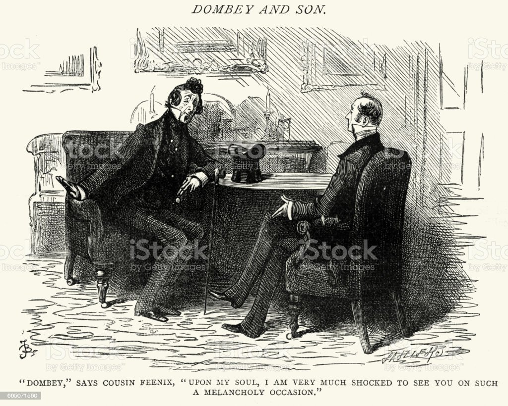 Charles Dickens - Dombey and Son a melancholy occasion vector art illustration