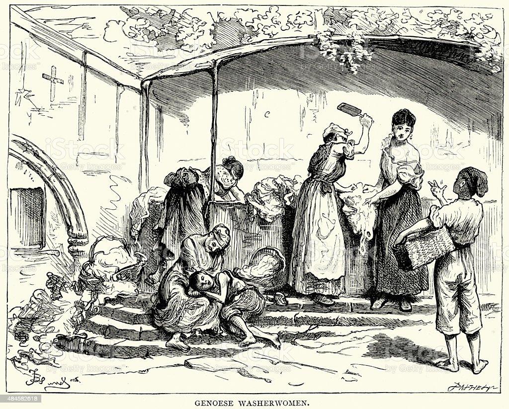 Charles Dickens - Genoese Washerwomen vector art illustration