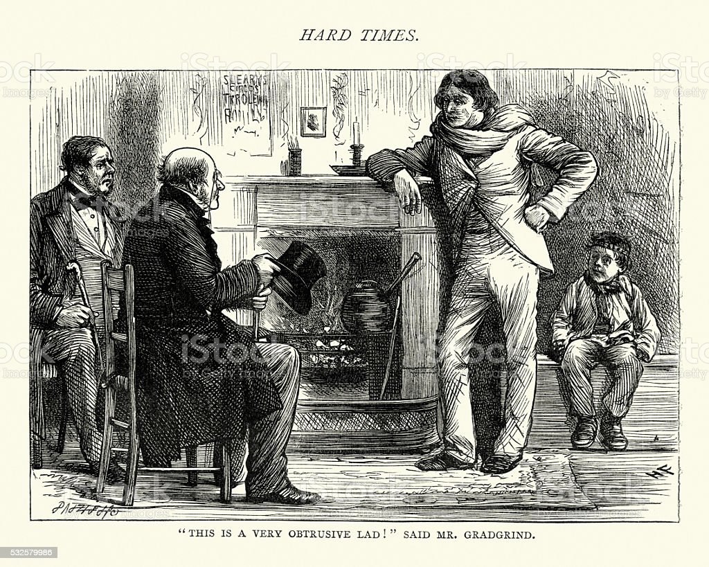 Charles Dickens Hard Times A very obstrusive lad vector art illustration
