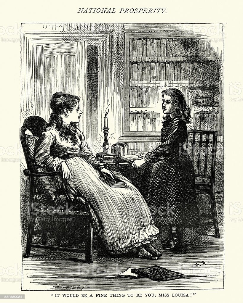 Charles Dickens Hard Times  Miss Louisa vector art illustration