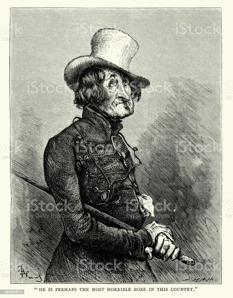 Charles Dickens - Most horrible bore in the country vector art illustration