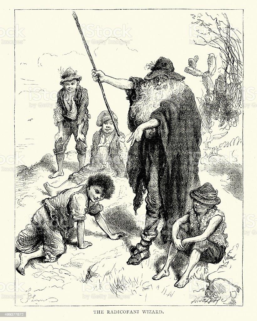 Charles Dicken's -  The Radicofani Wizard vector art illustration