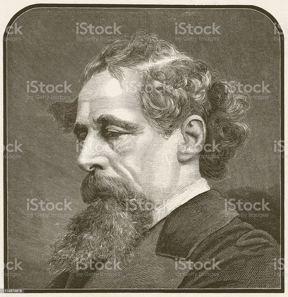 Charles Dickens (1812 – 1870), wood engraving, published in 1872 royalty-free stock vector art