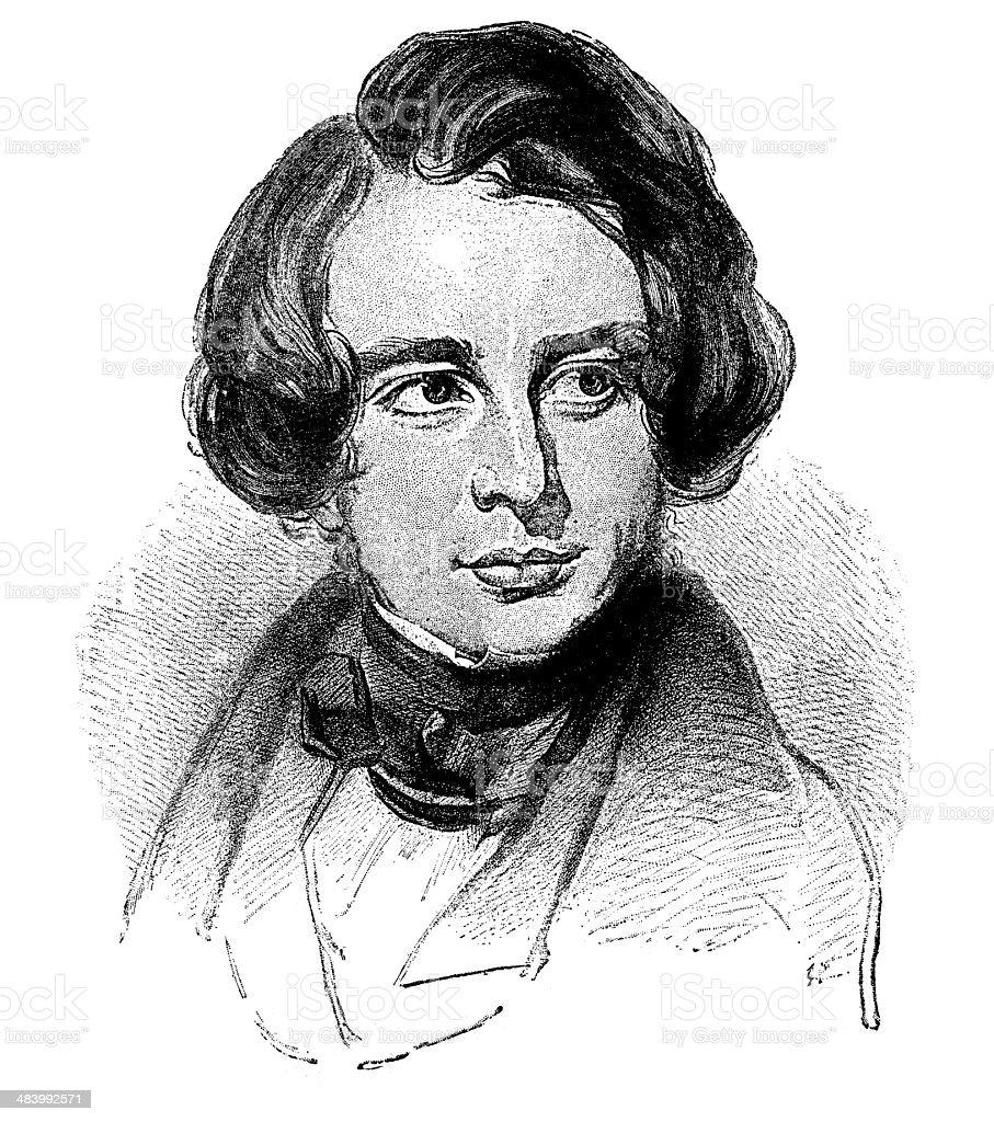 Charles Dickens,1848. royalty-free stock vector art