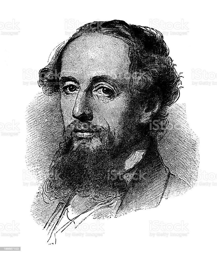 Charles Dickens,1861. royalty-free stock vector art