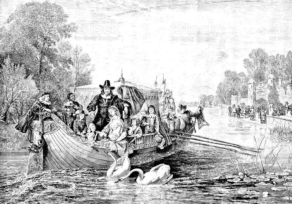 Charles I and Family in Royal Barge - Victorian Illustration royalty-free stock vector art