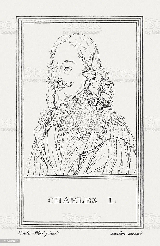 Charles I (1600-1649), British king, copper engraving, published in 1805 vector art illustration