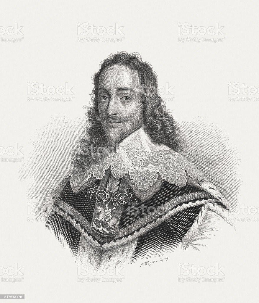 Charles I (1600-1649), steel engraving, published in 1868 vector art illustration