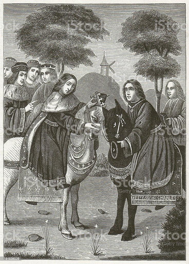 Charles IV and Charles V vector art illustration