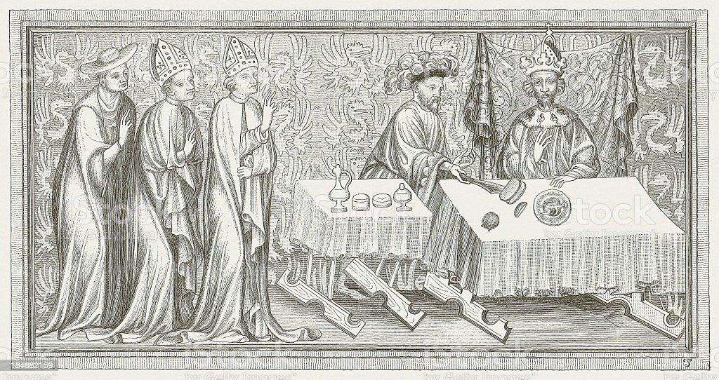 Charles IV (1316-1378), Holy Roman Emperor, wood engraving, published 1880 vector art illustration