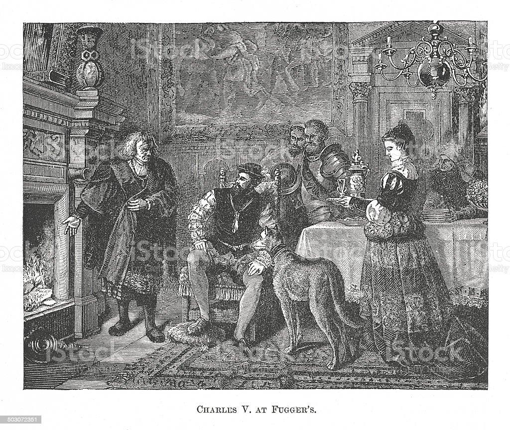 Charles V. at Fugger's (antique engraving) vector art illustration