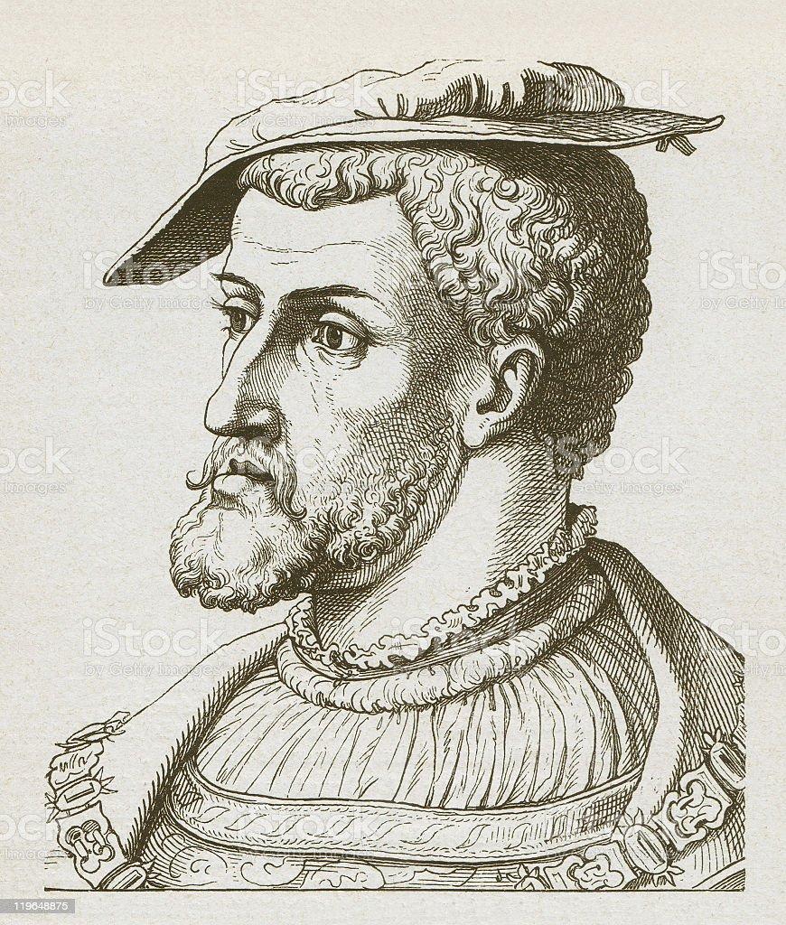 Charles V (1500-1558), Holy Roman Empereo, wood engraving, published 1877 vector art illustration