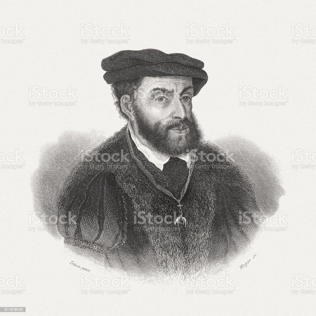 Charles V (1500-1558), Holy Roman Emperor, steel engraving, published 1868 vector art illustration