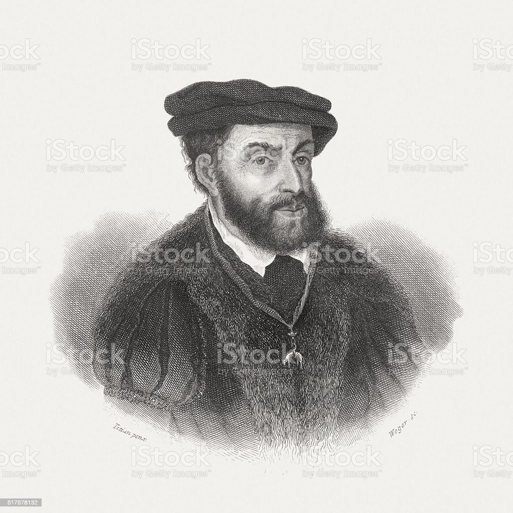 Charles V (1500-1558), Holy Roman Emperor, steel engraving, published 1868 vector art illustration