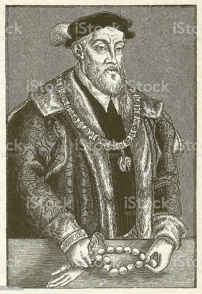 Charles V (1500-1558), Holy Roman Emperor, wood engraving, published 1881 vector art illustration