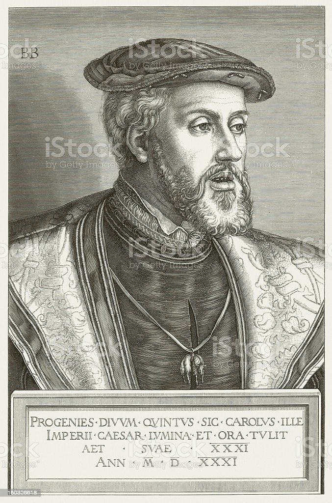 Charles V (1500-1558) in the 31th age, published in 1881 vector art illustration