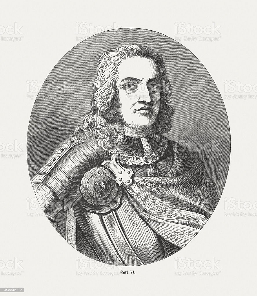 Charles VI, Holy Roman Emperor, published in 1871 vector art illustration