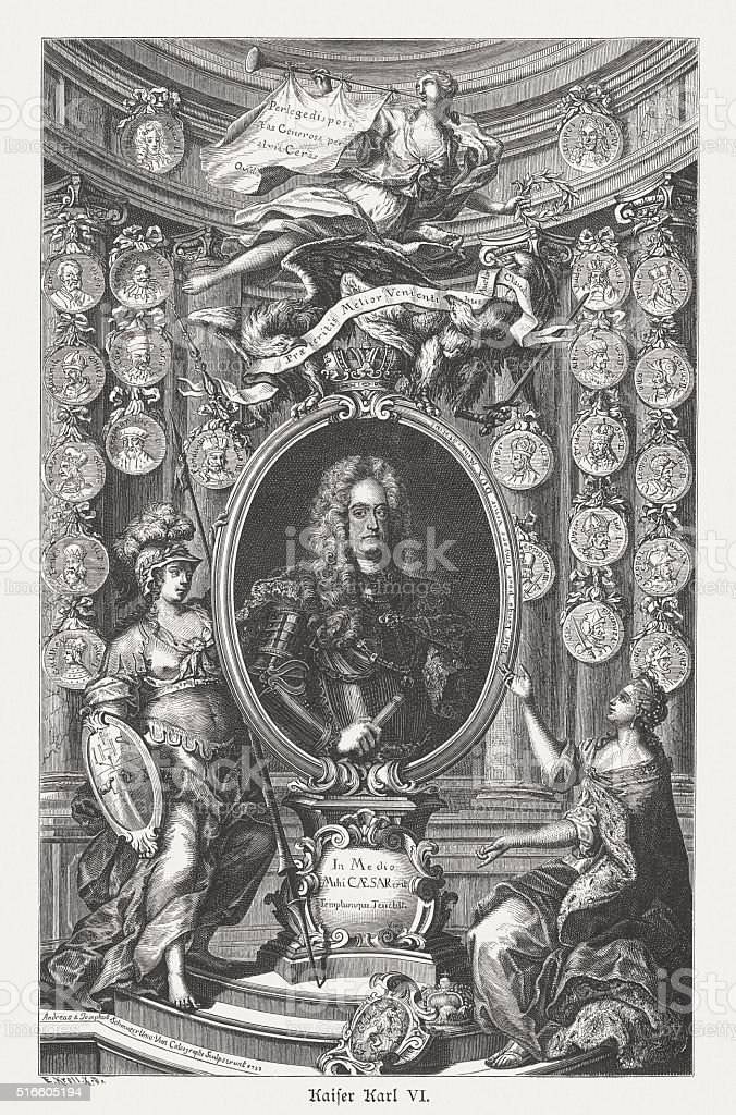 Charles VI, Holy Roman Emperor, wood engraving, published in 1884 vector art illustration