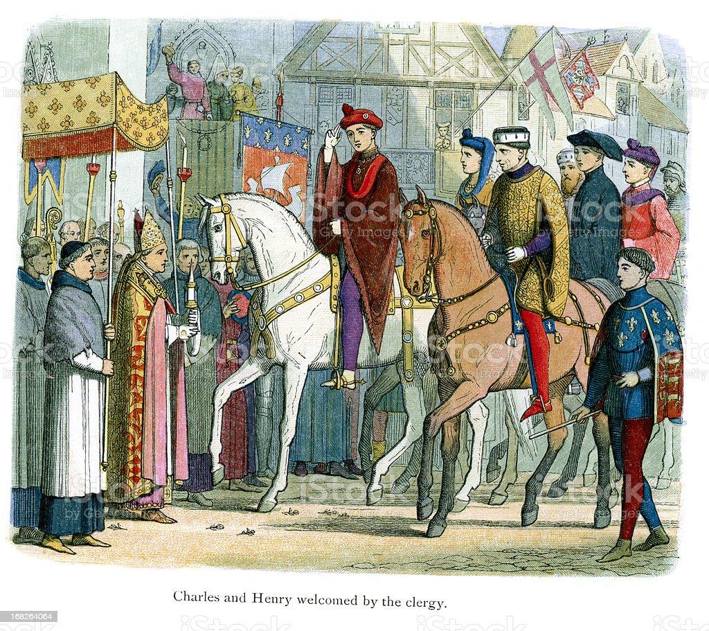 Charles VI of France and Henry V welcomed vector art illustration