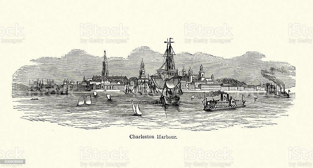 Charleston Harbour in the 19th Century vector art illustration