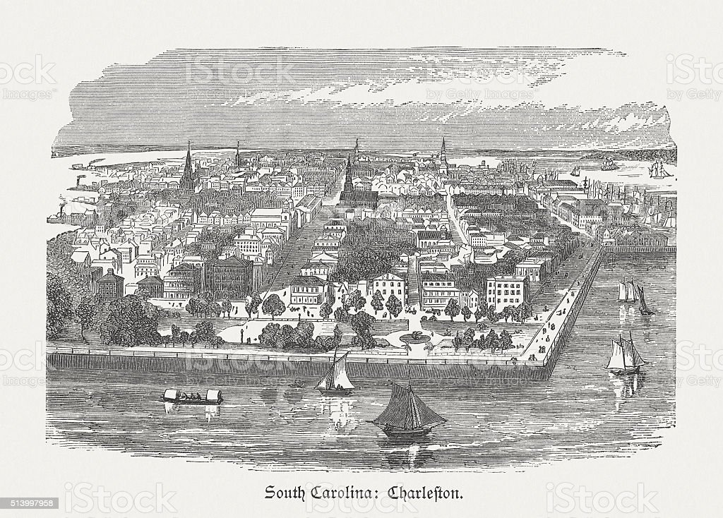 Charleston in South Carolina, USA, wood engraving, published in 1880 vector art illustration