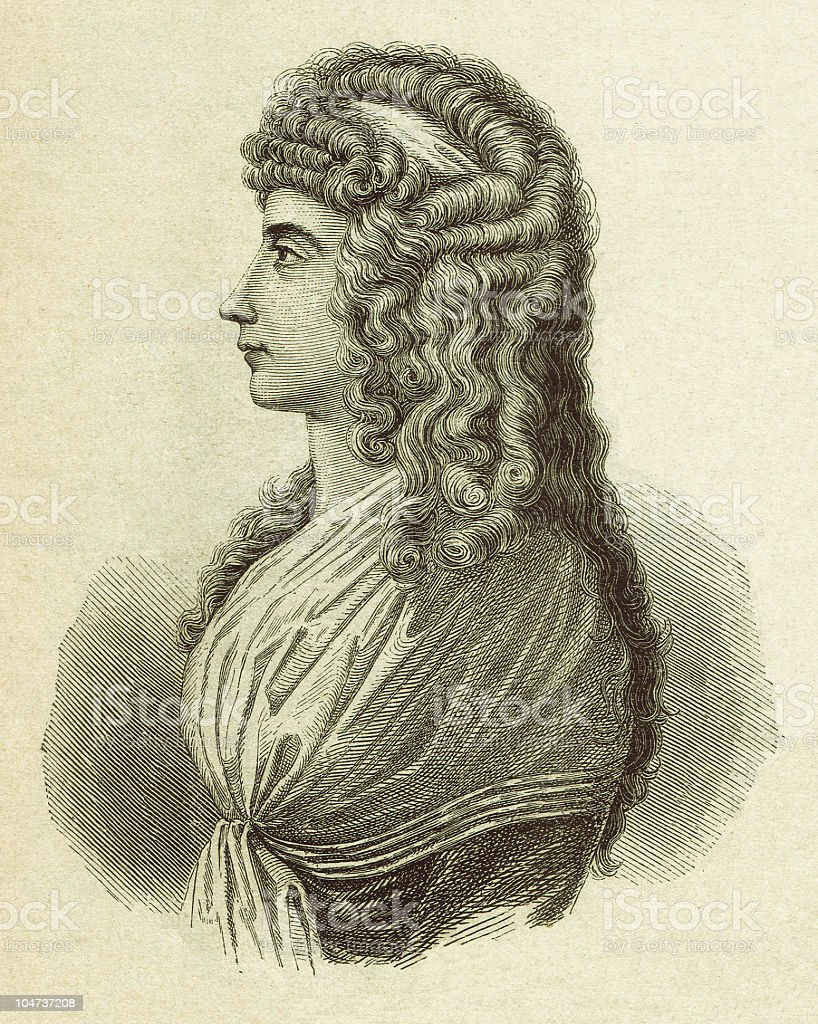 Charlotte von Stein (1742-1827), wood engraving, published 1879 vector art illustration