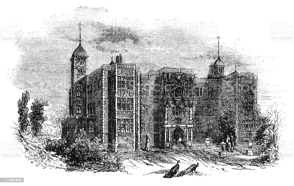 Charlton House, Kent - Victorian woodcut vector art illustration