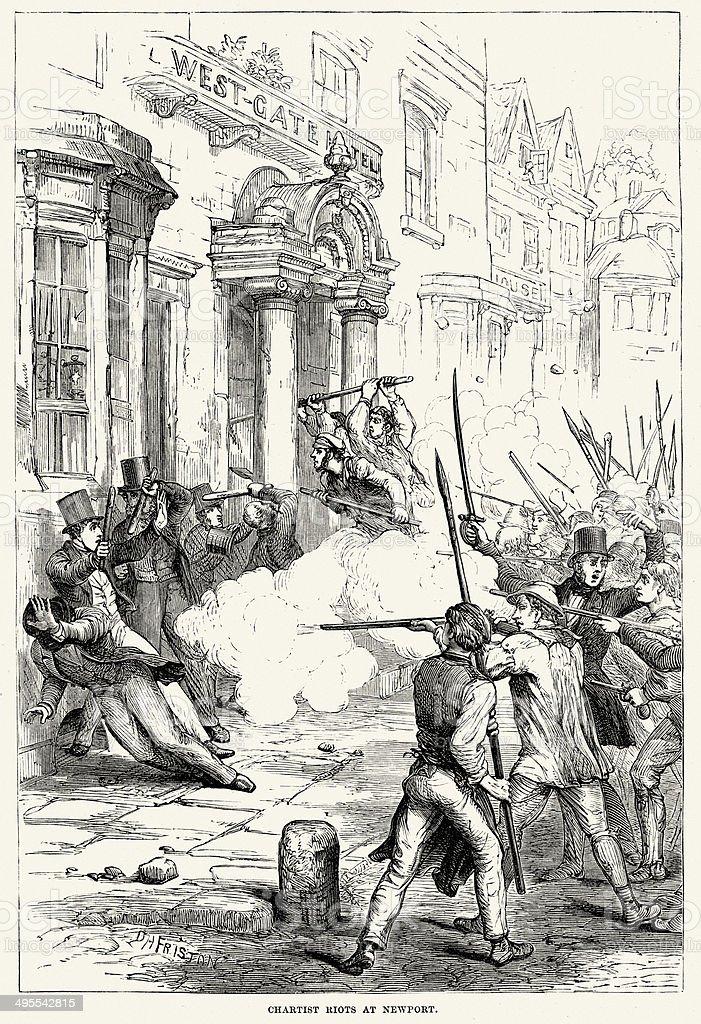 Chartist Riots at Newport vector art illustration